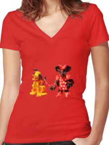 Minnie & Pluto Women's Fitted V-Neck T-Shirt
