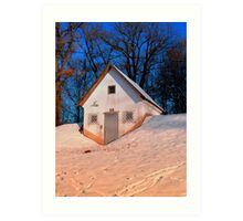 Small cottage in winter wonderland   architectural photography Art Print