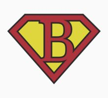 B letter in Superman style Kids Clothes