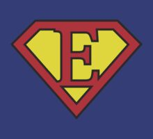E letter in Superman style by florintenica