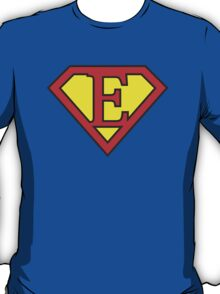 E letter in Superman style T-Shirt