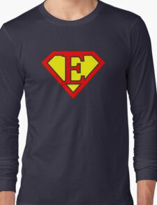 E letter in Superman style Long Sleeve T-Shirt