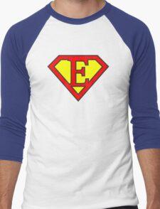 E letter in Superman style Men's Baseball ¾ T-Shirt
