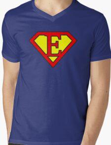 E letter in Superman style Mens V-Neck T-Shirt