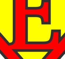 E letter in Superman style Sticker