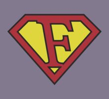 F letter in Superman style Kids Tee