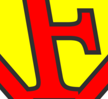 F letter in Superman style Sticker