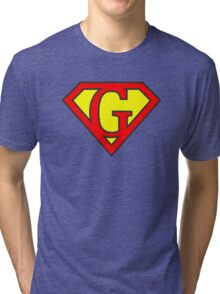 G letter in Superman style Tri-blend T-Shirt