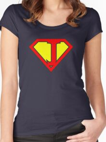 J letter in Superman style Women's Fitted Scoop T-Shirt