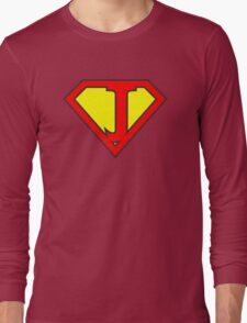 J letter in Superman style Long Sleeve T-Shirt