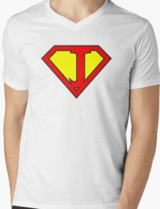 J letter in Superman style Mens V-Neck T-Shirt