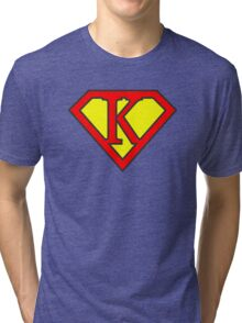 K letter in Superman style Tri-blend T-Shirt