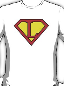 L letter in Superman style T-Shirt
