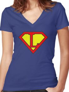 L letter in Superman style Women's Fitted V-Neck T-Shirt
