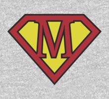 M letter in Superman style Kids Clothes