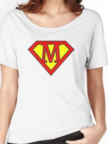 M letter in Superman style Women's Relaxed Fit T-Shirt