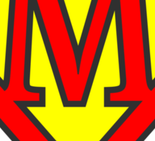 M letter in Superman style Sticker