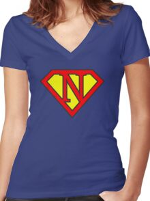 N letter in Superman style Women's Fitted V-Neck T-Shirt