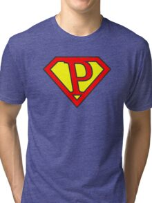 P letter in Superman style Tri-blend T-Shirt