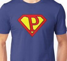 P letter in Superman style Unisex T-Shirt