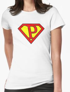 P letter in Superman style Womens Fitted T-Shirt