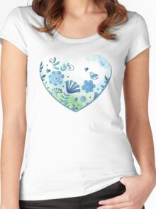 Blue heart with flowers and bird Women's Fitted Scoop T-Shirt