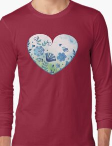 Blue heart with flowers and bird Long Sleeve T-Shirt