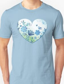 Blue heart with flowers and bird T-Shirt