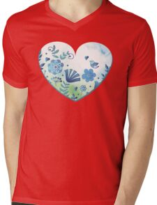 Blue heart with flowers and bird Mens V-Neck T-Shirt