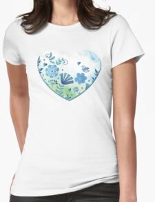 Blue heart with flowers and bird Womens Fitted T-Shirt