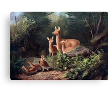 Deer family in the woods painting Canvas Print