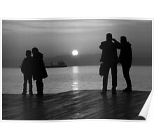 silluets in the sunset in b&w Poster
