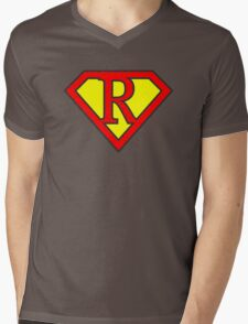 R letter in Superman style Mens V-Neck T-Shirt