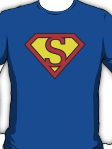 S letter in Superman style T-Shirt