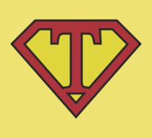 T letter in Superman style Kids Tee
