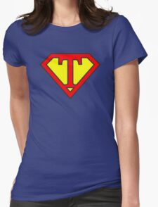 T letter in Superman style Womens Fitted T-Shirt