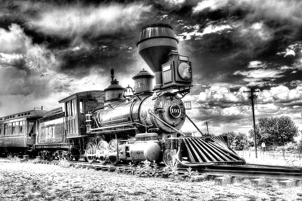 Denver Leadville & Gunnison No. 191 (N) B&W by lkrobbins