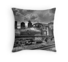 Shay Locomotive No. 12 B&W Throw Pillow