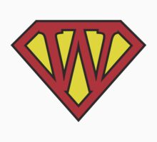 W letter in Superman style Kids Clothes