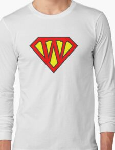 W letter in Superman style Long Sleeve T-Shirt