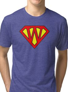 W letter in Superman style Tri-blend T-Shirt