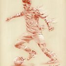 Aaron Ramsey - pastel sketch drawing by Paulette Farrell