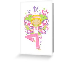 Yoga Girl with Butterflies Greeting Card