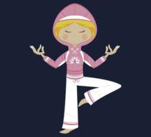Cute Yoga Girl in Hooded Top Baby Tee