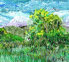 Mountains and shrubs 2 by 3 inch miniature painting by Regina Valluzzi