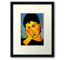 elvira resting at table Framed Print