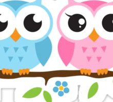 Cute blue and pink owl sitting on a branch sticker Sticker
