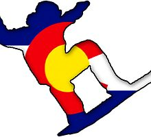 Colorado Flag Snowboarder by tychilcote