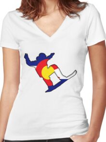 Colorado Flag Snowboarder Women's Fitted V-Neck T-Shirt
