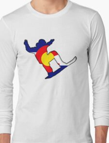 Colorado Flag Snowboarder Long Sleeve T-Shirt